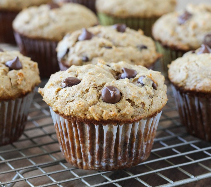 Healthy Peanut Butter Chocolate Chip Muffins