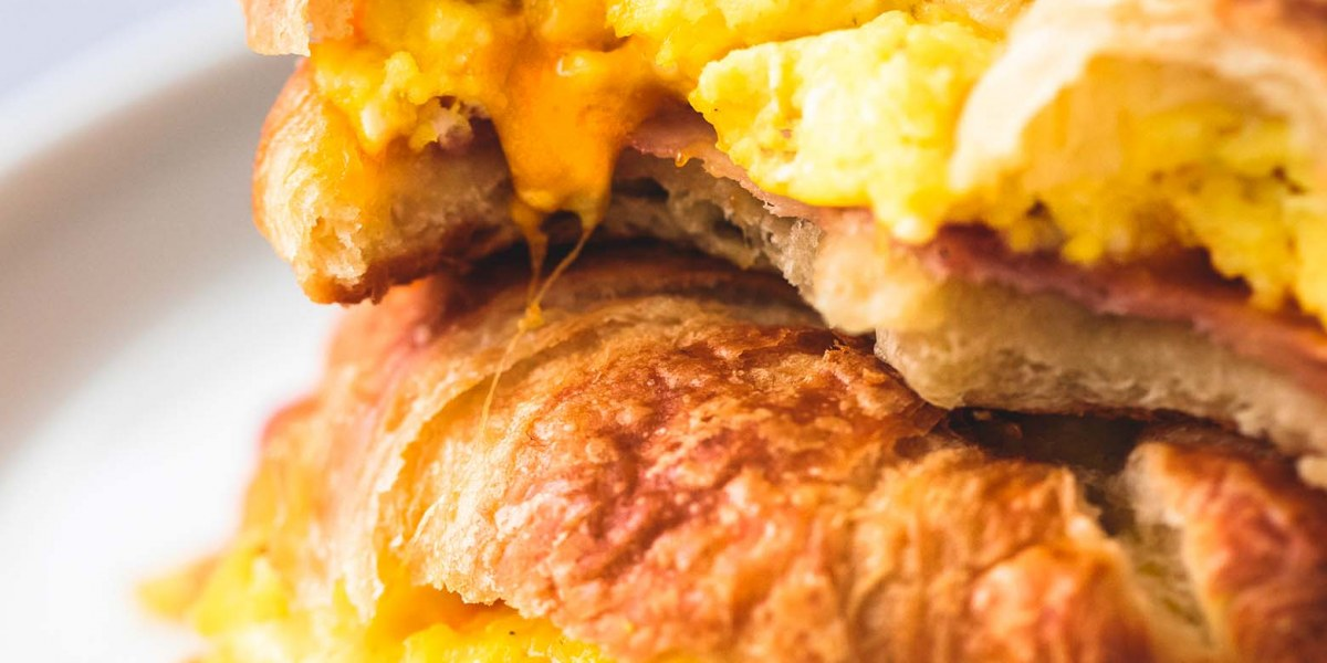 Turkey and Cheese Croissant Breakfast Sandwiches
